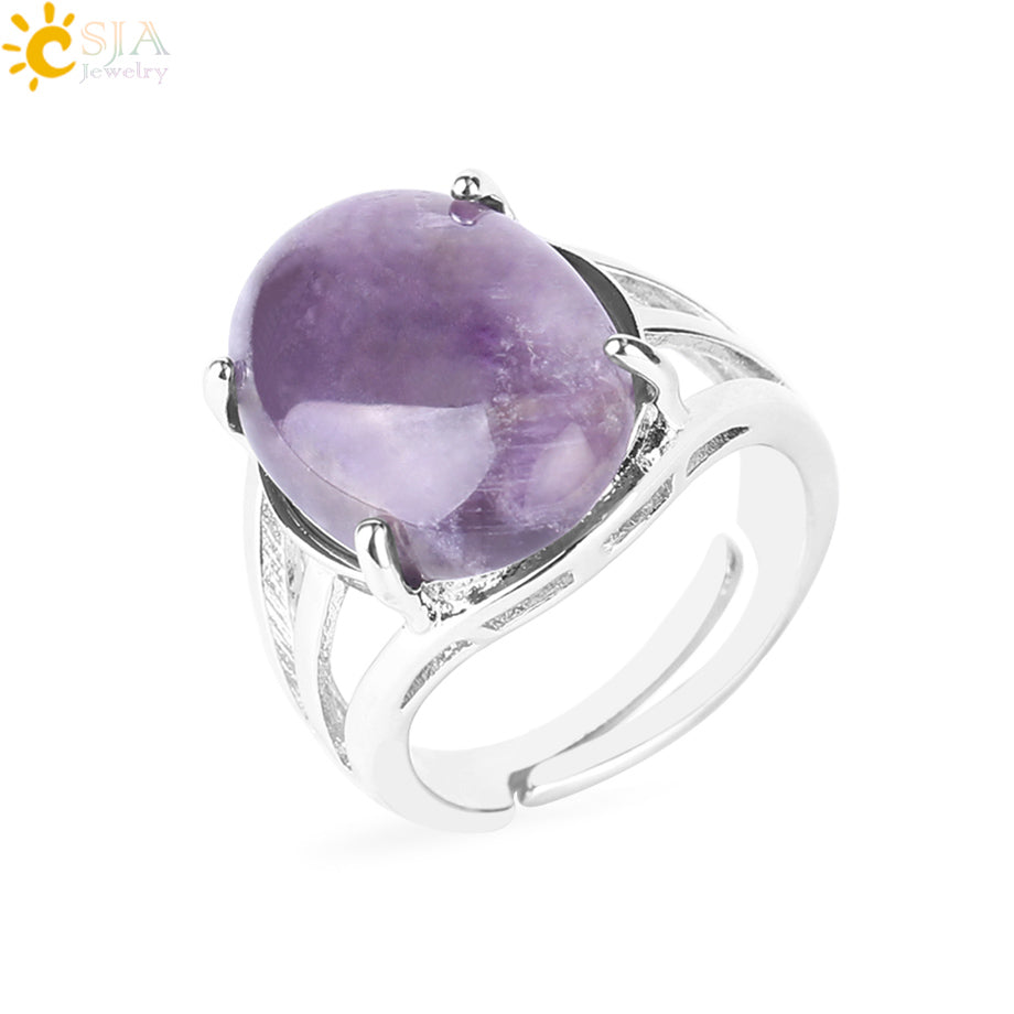 Women Ring Natural Stone Pink Quartz Purple Crystal Opening Rings Opal Oval Bead Adjustable Size Party Fashion Jewelry F551