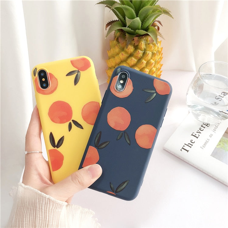 Retro Cartoon Fruit Phone Case For iphone X Case For iphone 6 6S 7 8 Plus Soft TPU Back Cover Lovely Orange Peach Cases