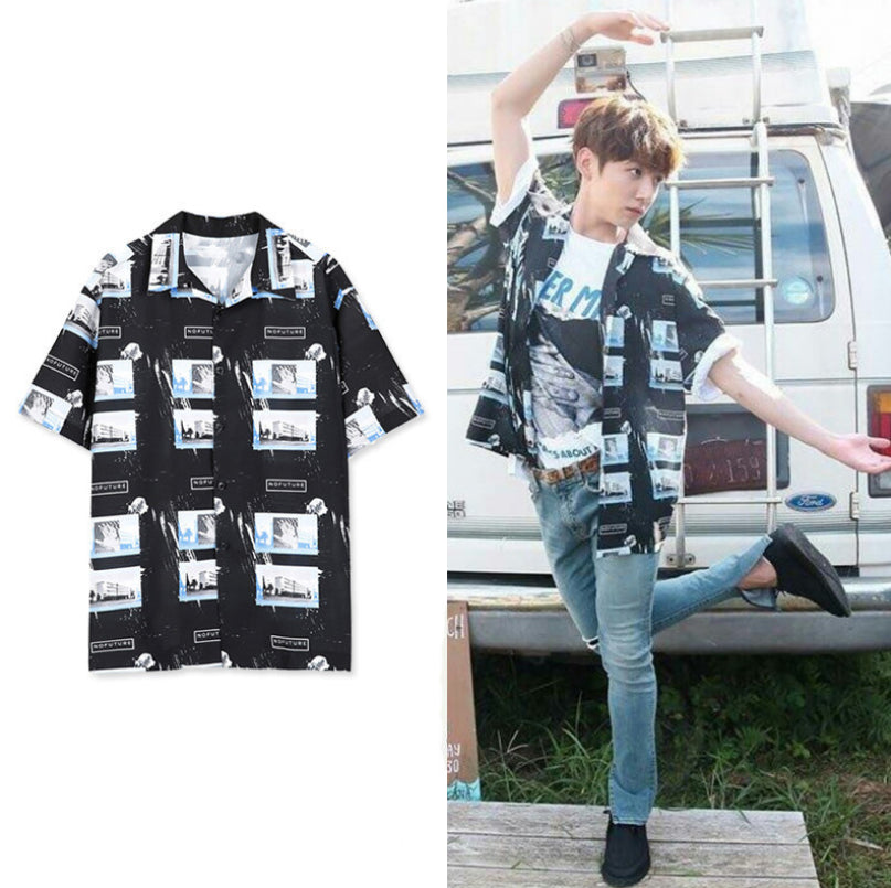 BTS jungkook same shirt short sleeve blouse