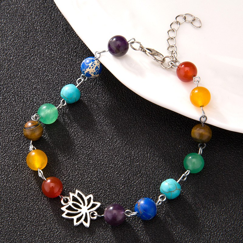 1 PCS Bohemia Jewelry Bead Anklet Foot Chain Ankle Pray Yoga Bracelet 7Chakra Charm Anklet Beach Vintage Foot Jewelry Gift