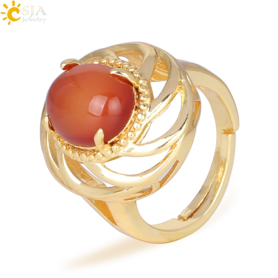 Natural Stone Red Rings for Women Gold Color Prong Setting Adjustable Vintage Cocktail Ring Onyx Punk Jewelry Gift F314