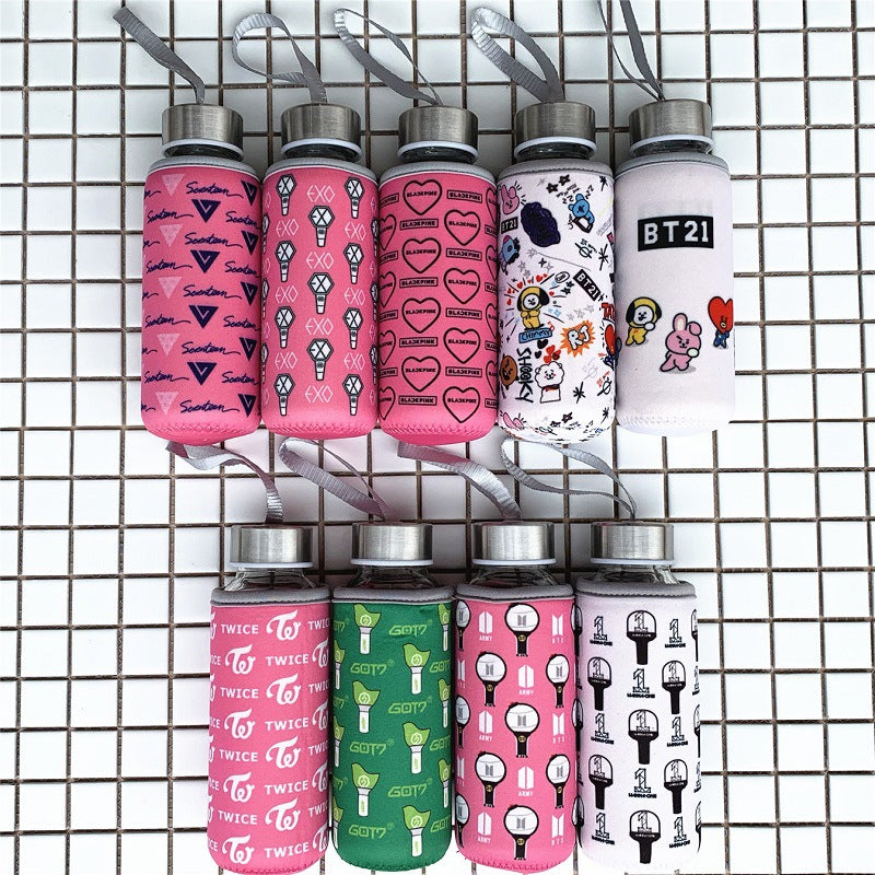BTS BT21 same Got7 exo seventeen blackpink twice wannaone coffee tea bottle Thermos cup