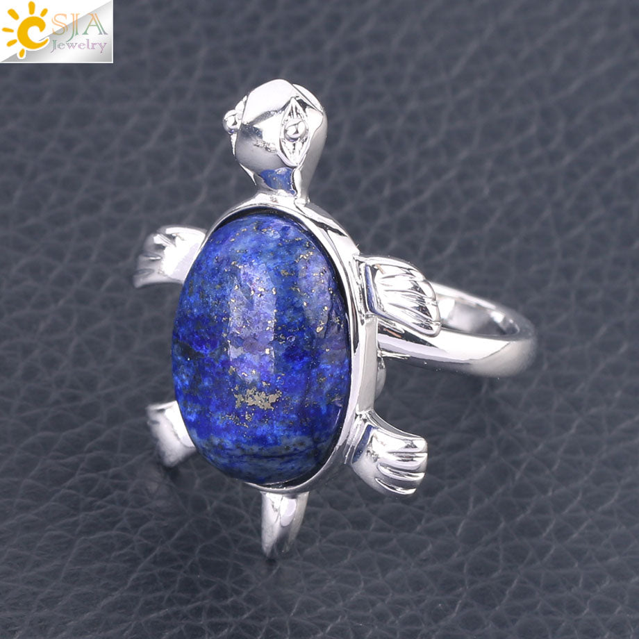 Women Fashion Knuckle Rings Chakra Natural Gems Crystal Turtle Tortoise Animal Lapis Lazuli Obsidian Jewelry for Girls F589