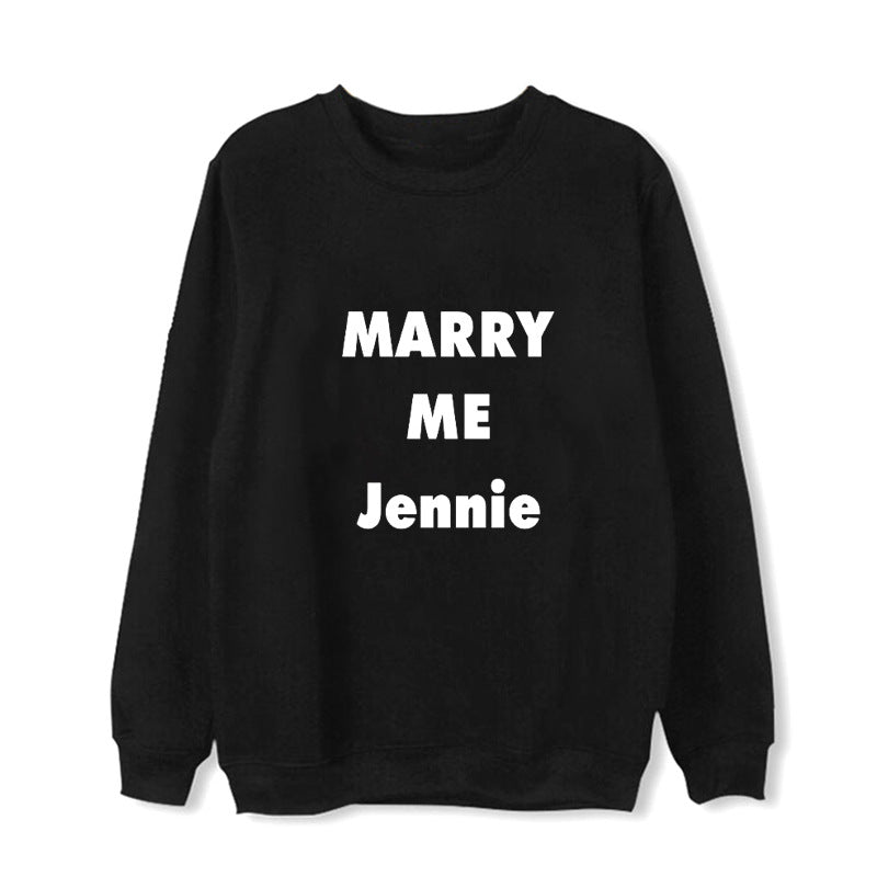 Kpop BLACKPINK BLACK PINK MARRY ME Album Hoodie Hip Hop Loose Clothes Pullover Printed Long Sleeve Sweatshirts WY789
