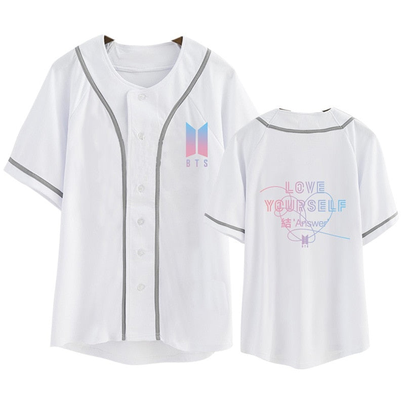 BTS  Love Yourself Cotton Cardigan Tshirt Button T Shirts