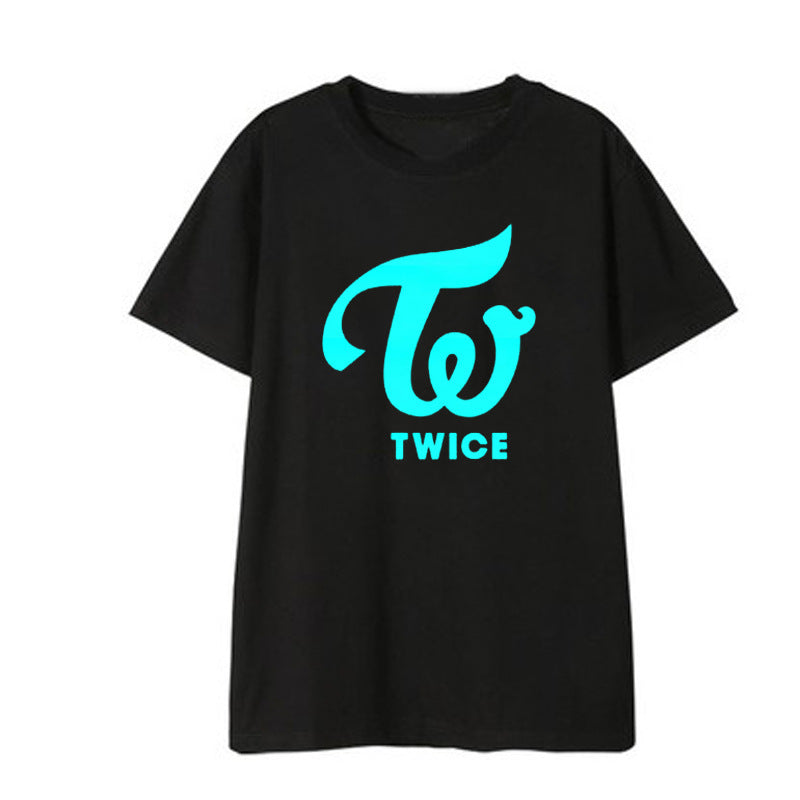 TWICE Luminous Logo Shirts Loose Clothes Tshirt T Shirt Short Sleeve Tops T-shirt