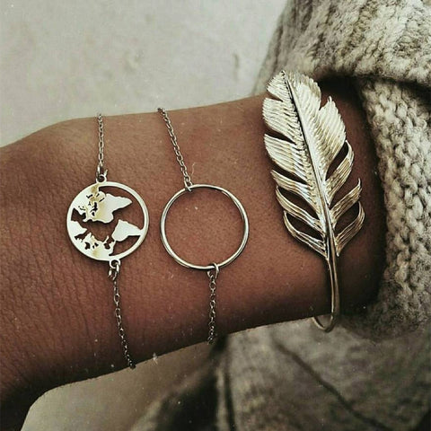 00f9a1724 Vintage Feather map Charm Bracelets Bangles For Women Fashion Silver Color  Boho Chain Bracelets Sets Jewelry Party Gifts