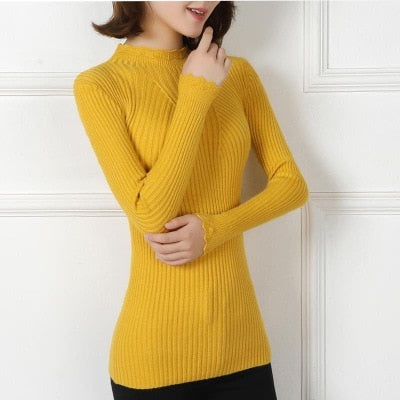 c91ff0c0335b Knitting Women Sweaters And Pullovers Solid Color Turtleneck Slim Casual  Ladies Knitted Sweater Winter New Chic
