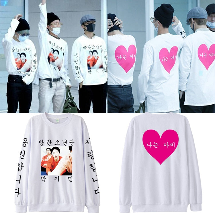 BTS Idol Jimin airport New Print Warm Kpop Sweatshirts Women Fans Capless Hoodies Women/Men Pullover Clothes For 4XL