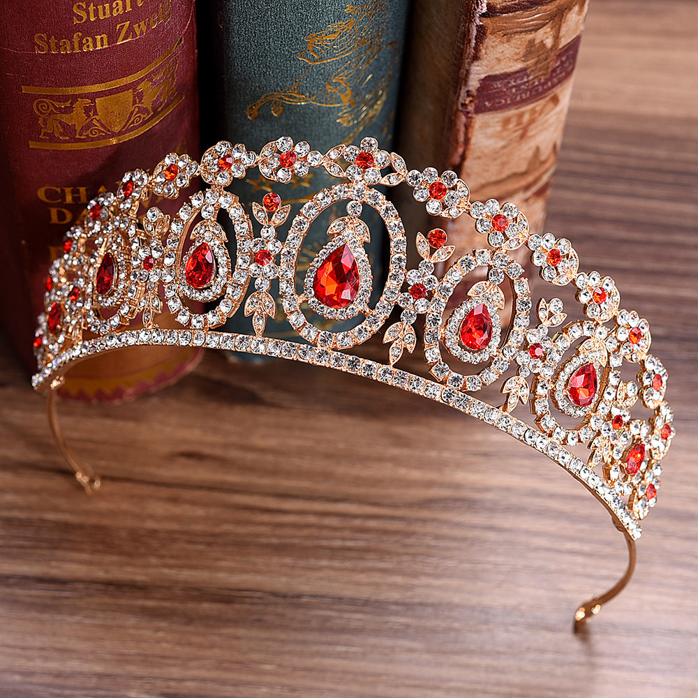 5 Colors Baroque Gold Bridal Crown For Wedding Hair Accessories Red Blue Green Crystal Crowns Tiaras Diadem Headbands