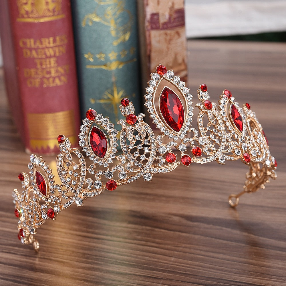 Baroque Luxury Gold Color Crown Bridal Wedding Hair Accessories Red Blue Crystal Crowns Tiaras Diadem Girls Headbands