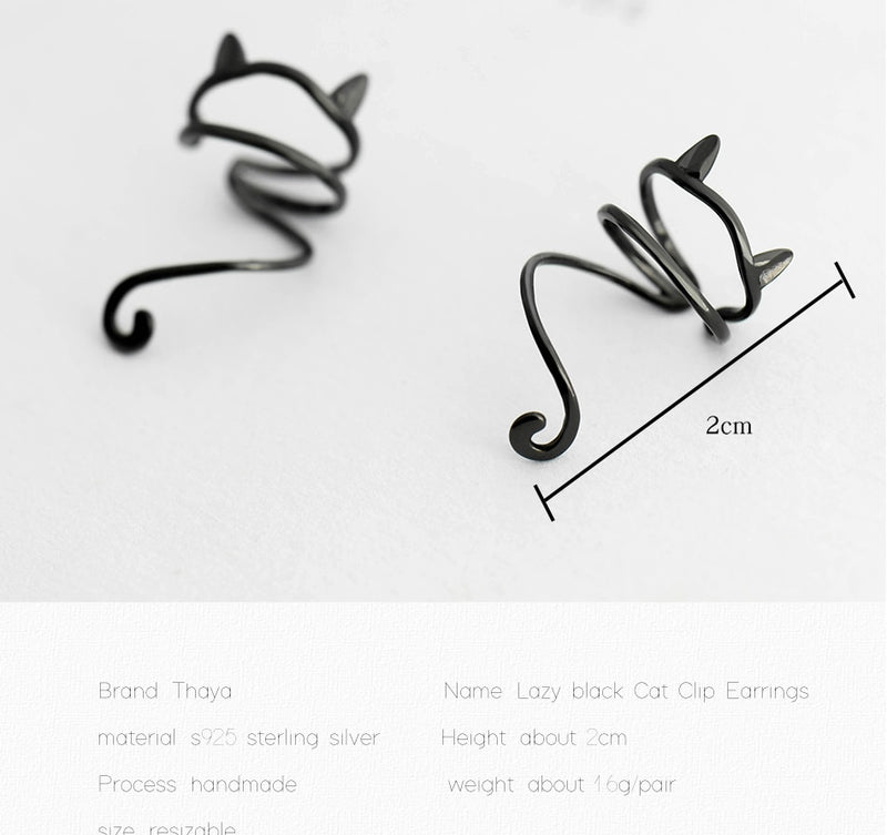 100% 925 Sterling Silver Lazy Black Cat Clip Earrings Non-Piercing Simple Cute Ear Cuff for Women Circle Ear Fine Jewelry