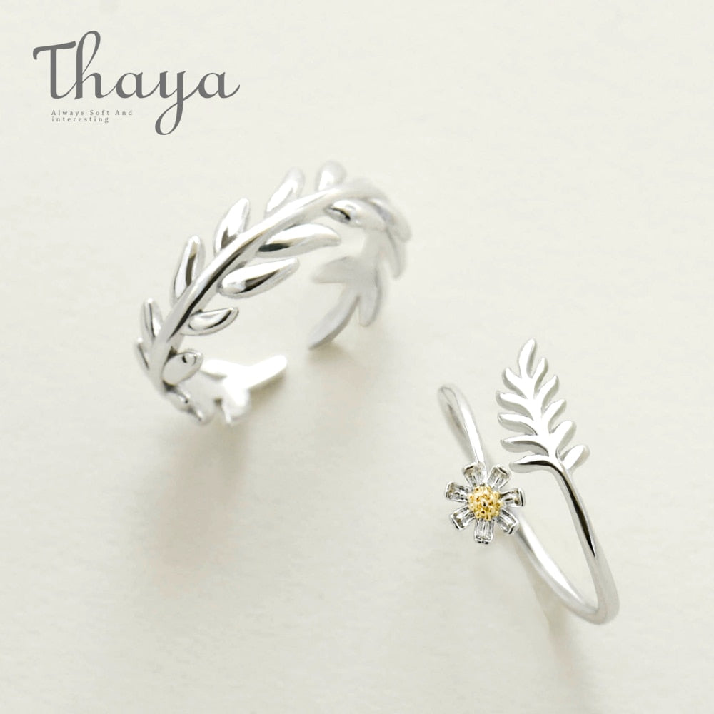 S925 Sterling Silver Leaf Circle Ring Gesang Flower Winding Finger Ring Minimalist Indian Fine Jewelry for Women