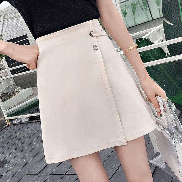 Autumn Female A-Line Irregular Above Knee Skirts Women Package Hip High Waist Mini Skirts Sexy Office Lady Split Skirts