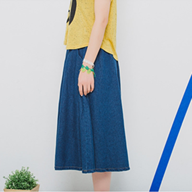 1d2fbb70b Women Fashion Denim Skirt Elastic Waist Loose Casual A-Line Solid Dark Blue  Faldas Women