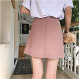 Autumn Korean Women A-Line Mini Skirts Office Lady High Waist Pleated Skirts Female Thin Package Hip Above Knee Skirts