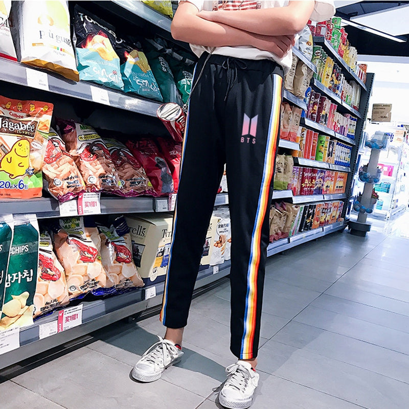 Women Harem Pants Casual BTS Korean Kpop Style Bangtan Boys Joggers Rainbow Harajuku ulzzang Spring Striped Side Sweatpants