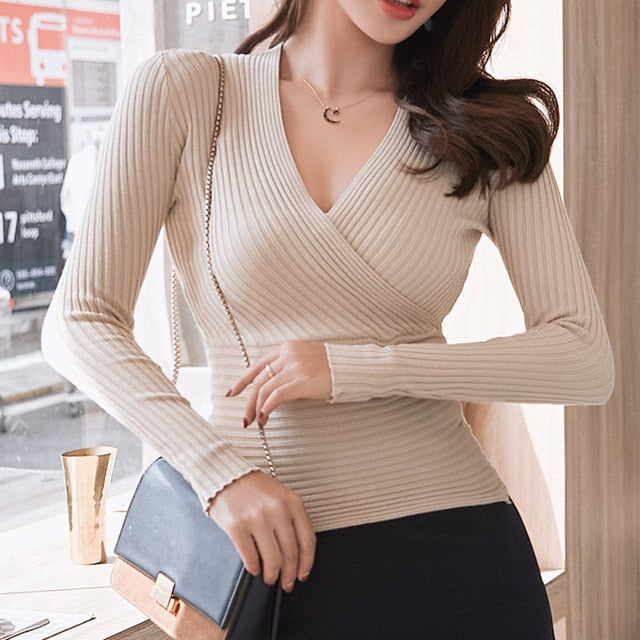15 Colors Sexy V-neck Elastic Knitted Women Sweater Autumn Full Sleeve Skinny Knitted Pullovers femme  Soft Jumper
