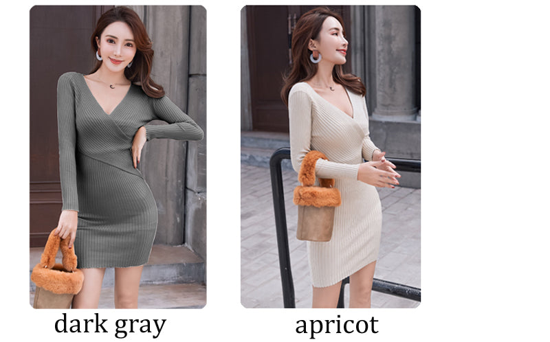 11 Colors OL Knitted Cotton Sexy V-neck Sweater Dress Women Casual Hip Packaged Elastic Knitted Dress Vestidos Femme