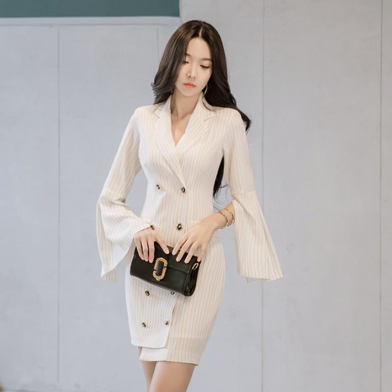fec4b4b28ab9 Autumn Blazer Notched Collar Women Striped Elegant Dresses Double Breasted  Office Ladies Bodycon Dress Fashion Sexy