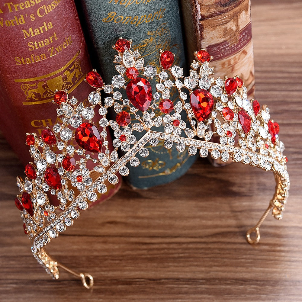 Baroque Luxury Gold Color Flower Crown Tiaras For Women Crystal Rhinestone Girls Tiaras Bride Wedding Hair Jewelry