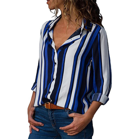 c454f4d3a51 Women Blouses Long Sleeve Casual Striped Shirt Sexy V-Neck Blouse Elegant  Office Ladies Buttons Shirts Tops Tunic Blusas Mujer
