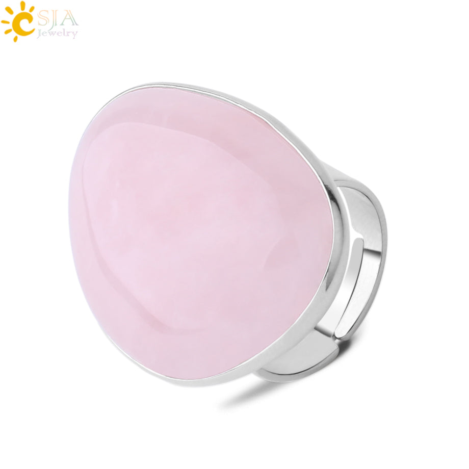 Reiki Pink Crystal Quartz Rings for Girls Women Big Natural Stone Geometric Silver Color Ring Fashion Jewelry Gifts F847