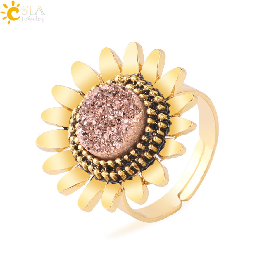 Natural Stone Druzy Rings for Girls Lady 2019 Gold Color Alloy Sunflower Flower Adjustable Ring Trendy Wedding Jewelry F761