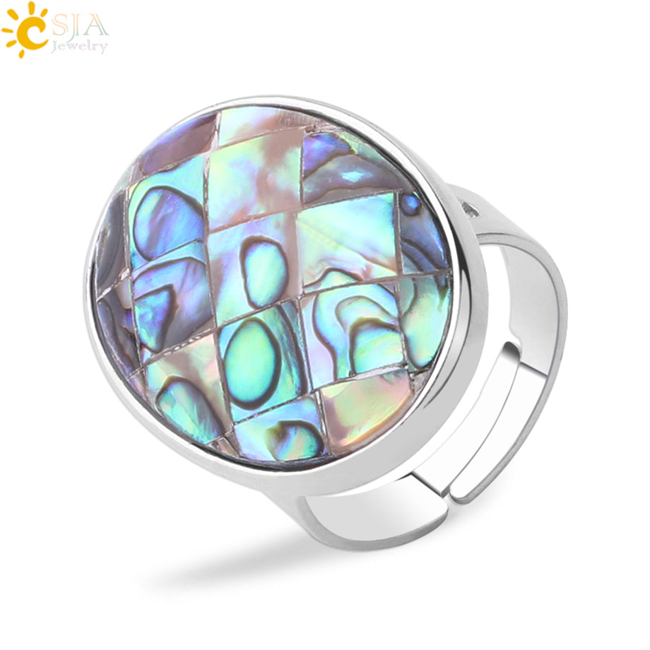 Natural Paua Shell Finger Rings Men Girl Mother of Pearl Abalone Shell Colorful Yellow Silver White Color Wedding Band F853