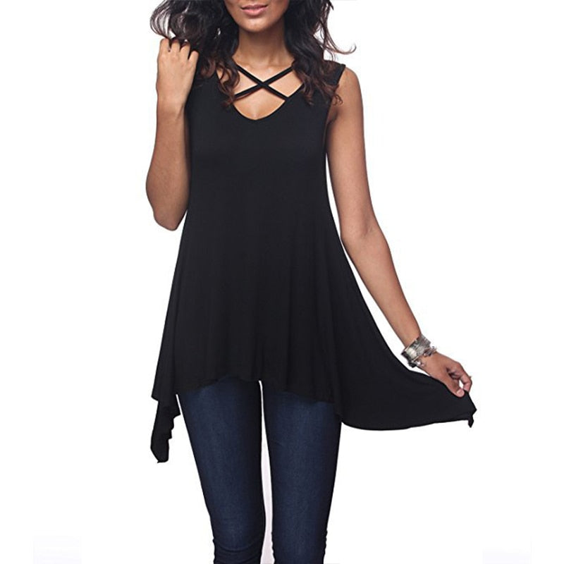 Women Casual Tops Summer Solid Sleeveless Tank Tops Sexy Cross V Neck Hollow Out Tee Top Tunic Loose T Shirt Tops 3XL