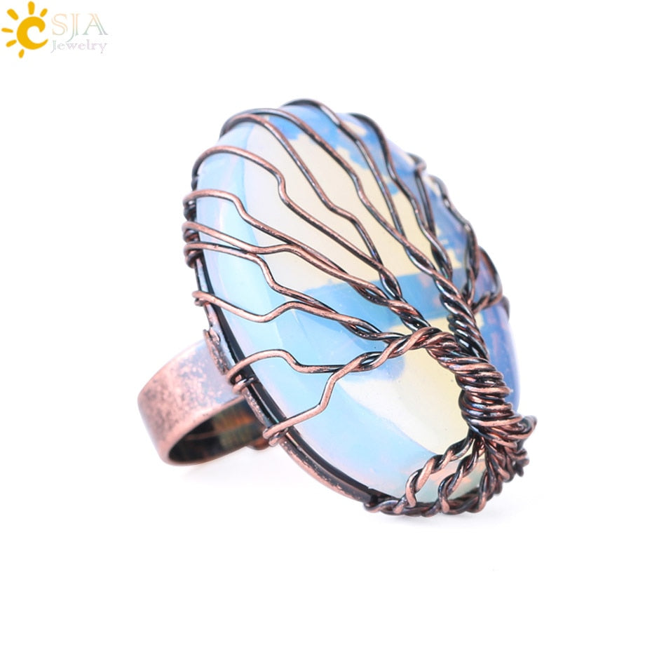 Antique Rings for Women Vintage Finger Jewelry Egg Shape Natural Stone Bead Wire Wrapped Tree of Life Adjustable Ring F391