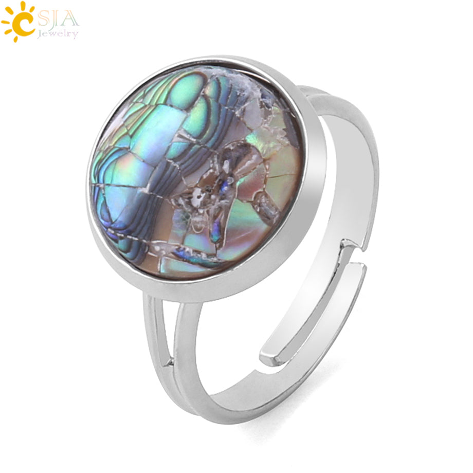 Round Natural Seashell Ring Pink White Colorful Abalone Shell Adjustable Women Finger Rings Party Daily Summer Jewelry F904