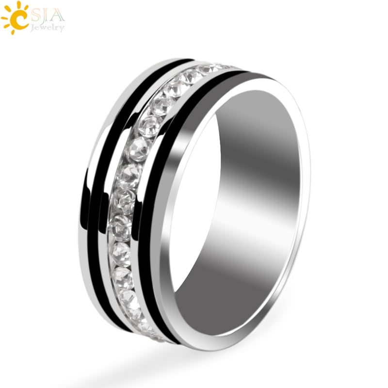 a52b4abbb6 Stainless Steel Single Row Crystal Finger Ring Rhinestone Black  Silver-color Couple Rings Fashion Jewelry