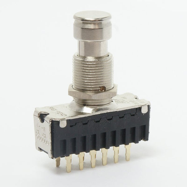 Foot switch 4-pole latching. Used in early Black Label True Bypass pedals (produced 2007-2008). P/N: 9401.