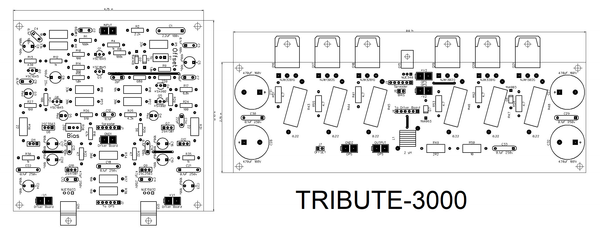 Tribute-3000 boards set (4 x PCBs, two channels)