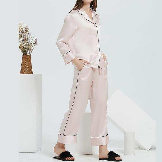 Charlie Pure Mulberry Silk Pyjamas with Side Piping Details Set (Pink)