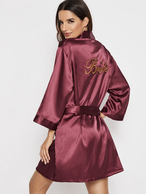 Classic Bride Red Silk-Satin Robe