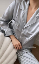 Load image into Gallery viewer, Emma Pure Mulberry Silk Long Pyjamas Set (Mint)