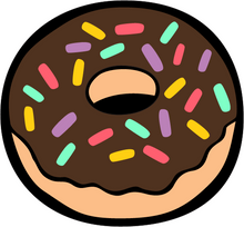 Load image into Gallery viewer, Plain donut with chocolate icing and multi-coloured sprinkles