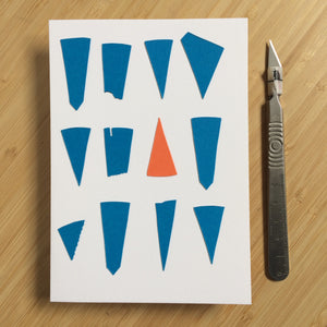 Abstract Greeting Cards made from Offcuts and Found Papers