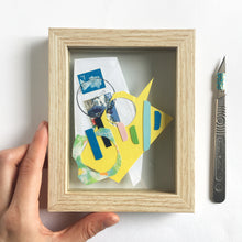 Load image into Gallery viewer, Abstract Artwork made from Scrap and Found Papers - Floating Frame Collection