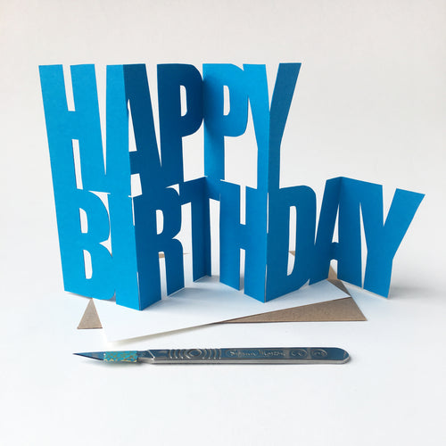 Handcut Happy Birthday concertina card