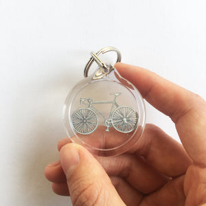 Handcut bike papercut keyring