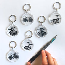 Load image into Gallery viewer, Handcut bike papercut keyring