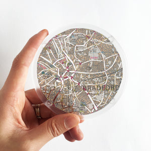 Ordnance Survey Map Coaster with the main roads cut out - Leeds areas