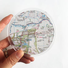 Load image into Gallery viewer, Ordnance Survey Map Coaster with the main roads cut out - Leeds areas