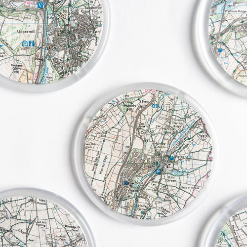 Ordnance Survey Map Coaster with all the main roads cut out - Saddleworth/Peak District areas
