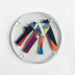 Abstract Coasters made from offcuts and found papers