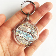 Load image into Gallery viewer, Ordnance Survey map keyring with the main roads cut out - Leeds Areas