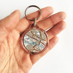 Ordnance Survey map keyring with the main roads cut out - Leeds Areas